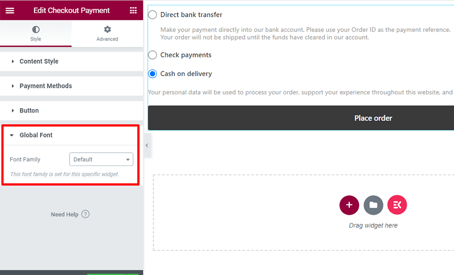 Checkout form- payment with global font section