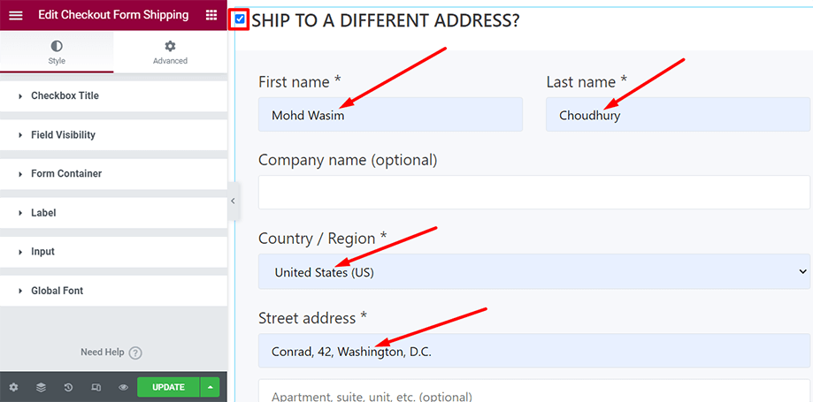 Checkout form- shipping is on display