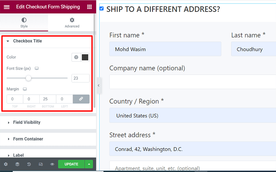 Checkout form- shipping is on display with checkbox title section
