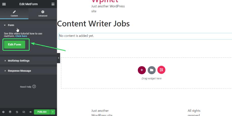 click on edit form