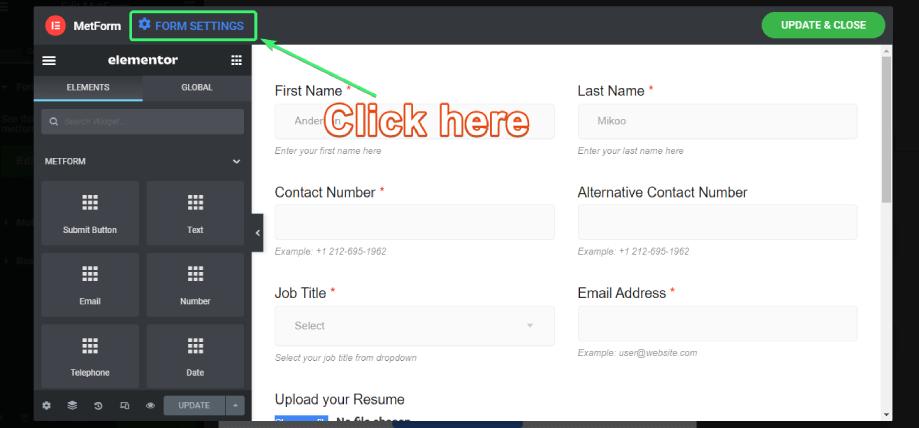 explore MetForm's form settings