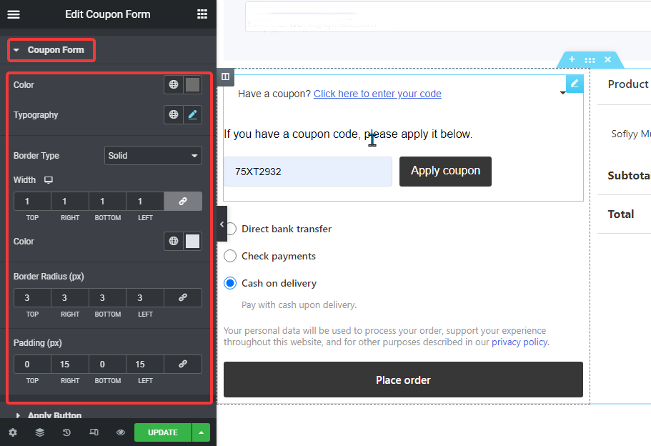 coupon form style settings