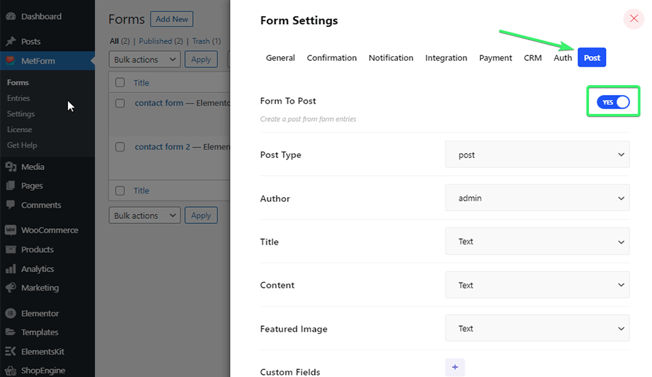 Create a post with form entries
