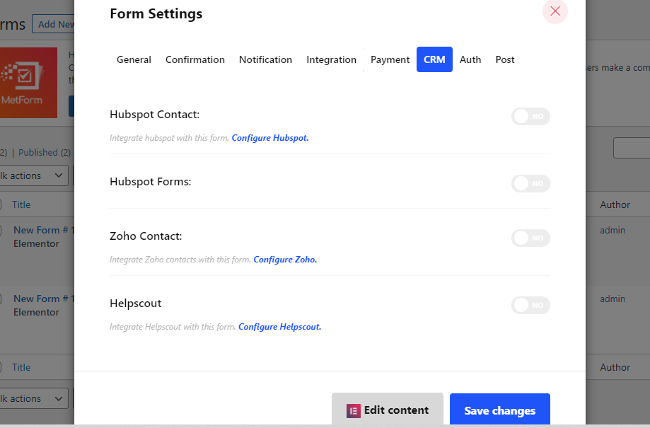 Integrate your favorite CRMs with MetForm