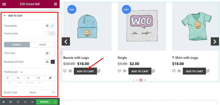 Shop page is on display with add to cart section