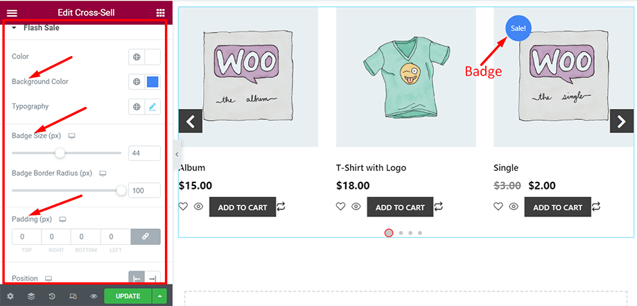 Shop page is on display with flash sale section