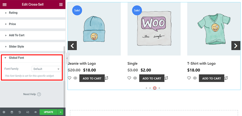 Shop page is on display with global font section