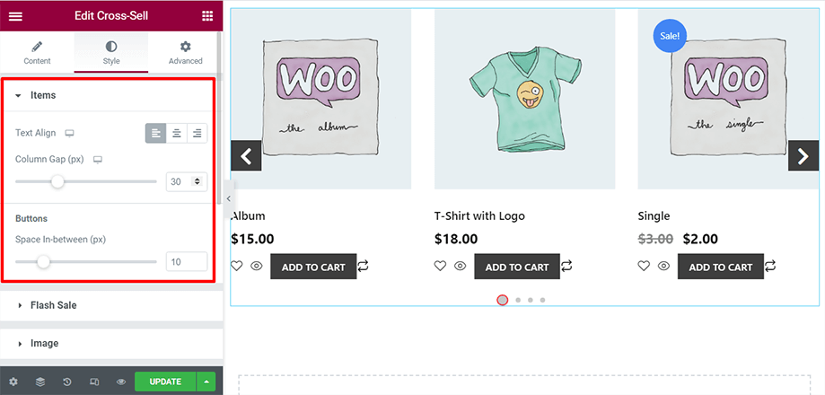 Shop page is on display with items and buttons sections
