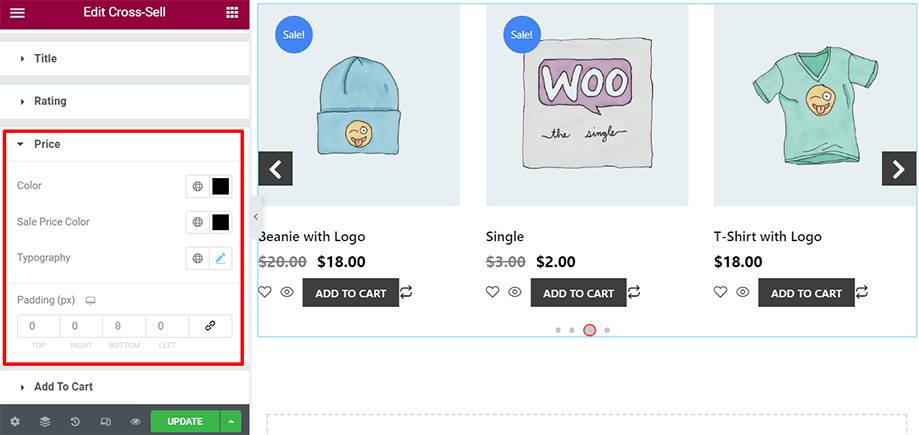 Shop page is on display with price section