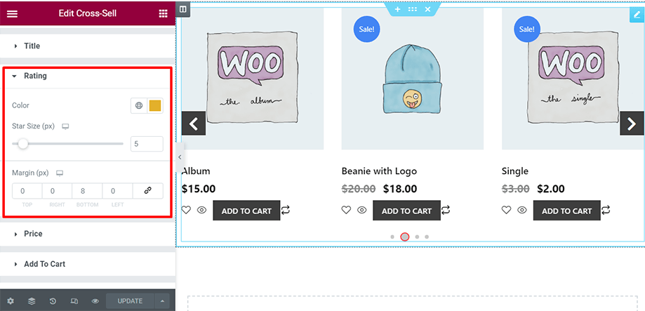 Shop page is on display with rating section