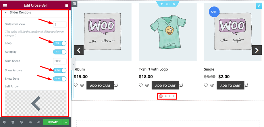 Shop page is on display with slider controls section