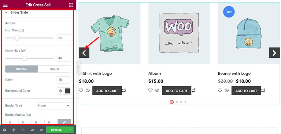 Shop page is on display with slider style section