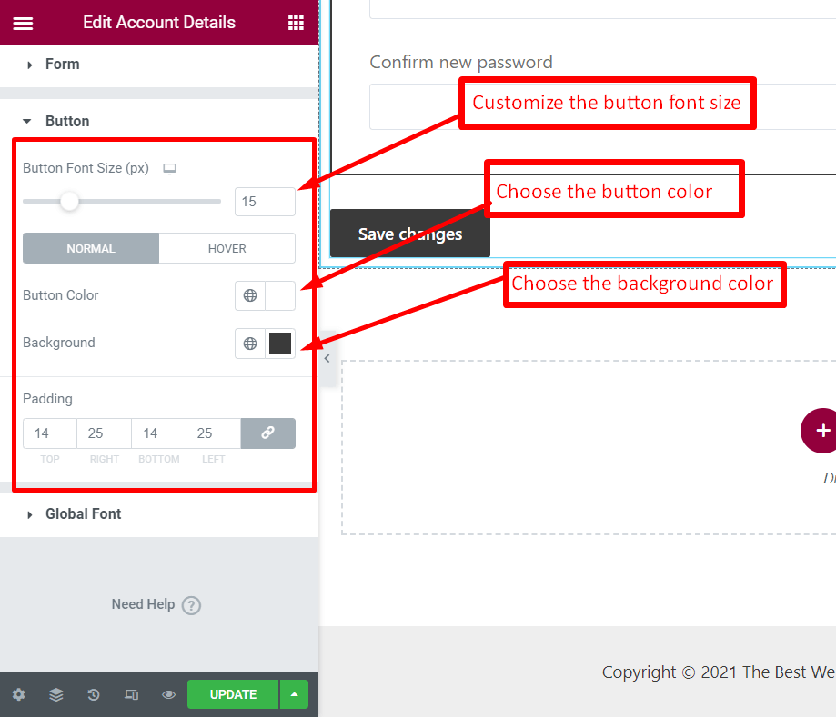 how to customize button for account details