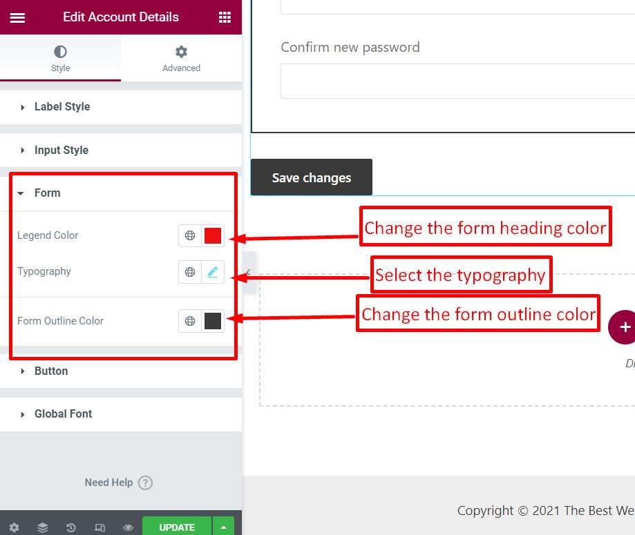 customize form details for account details widget