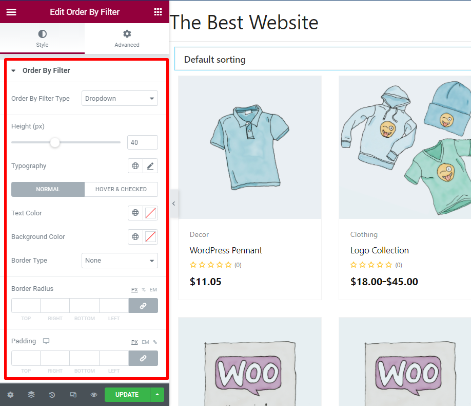 customize order by filter widget
