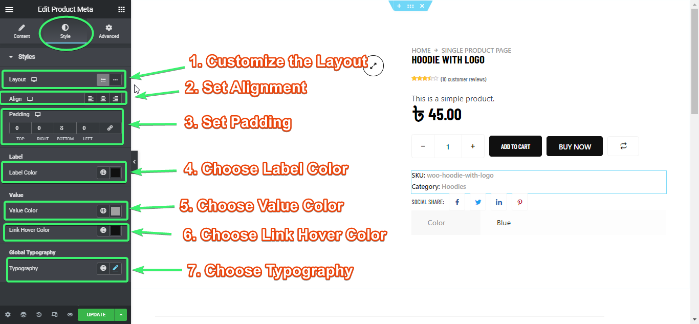 custmize the style settings of the product meta widget