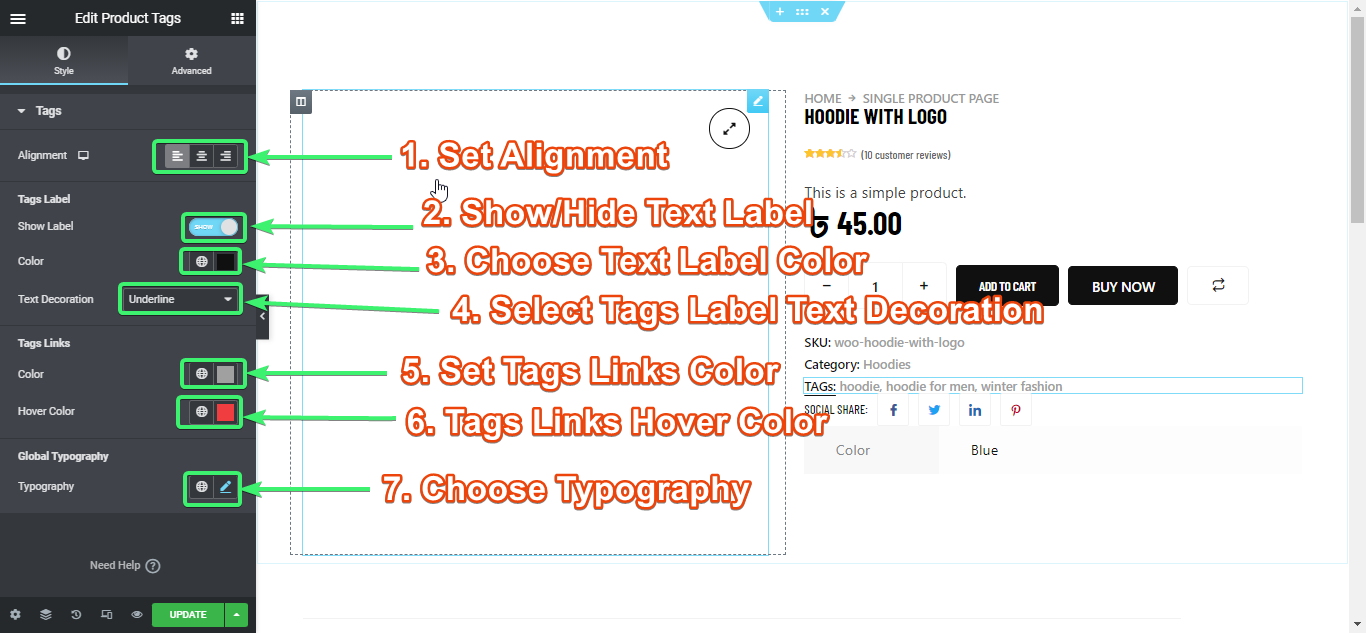 customize the product tags widget of  ShopEngine from Elementor