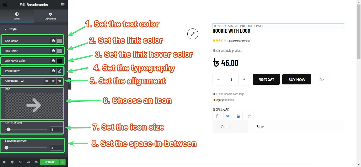 customize the breadcrumbs widget styles with elmentor