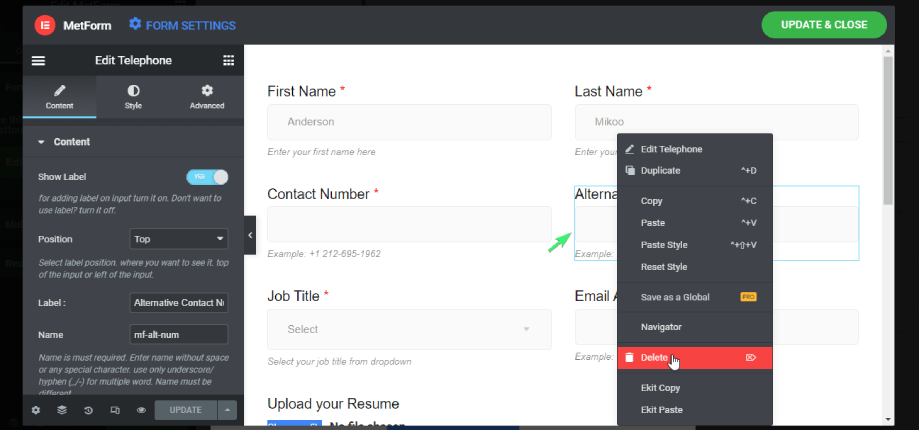 delete any form fields with Elementor
