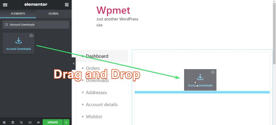 drag and drop account downloads widget of shopengine on elementor
