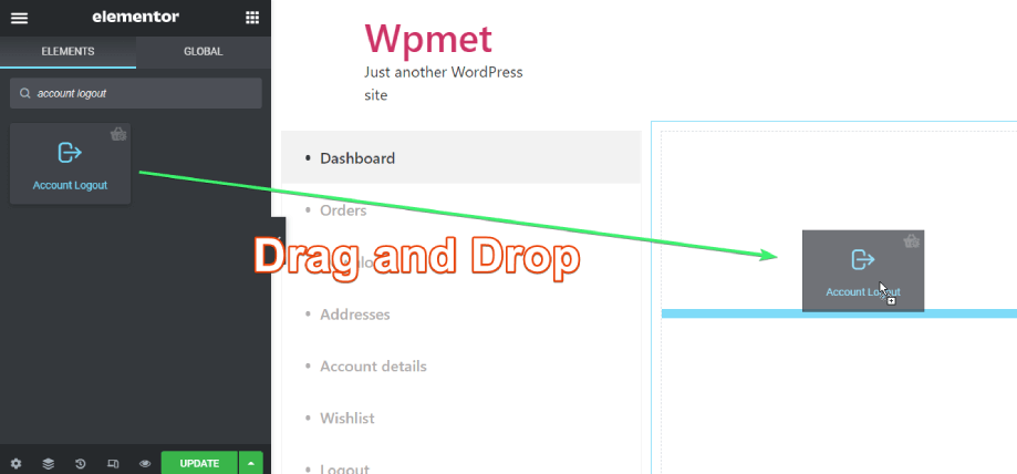 Drag and drop the account logout widget of ShopEngine on Elemetnor content area