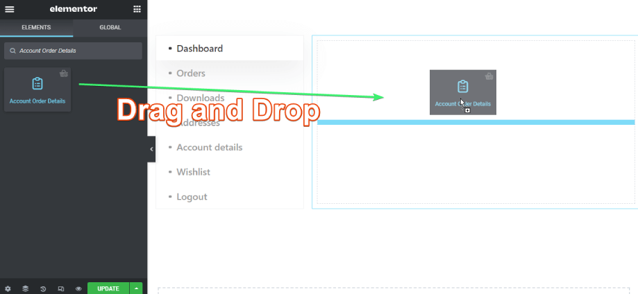 drag and drop account order details widget on elementor