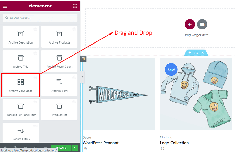 Drag and drop archive view mode