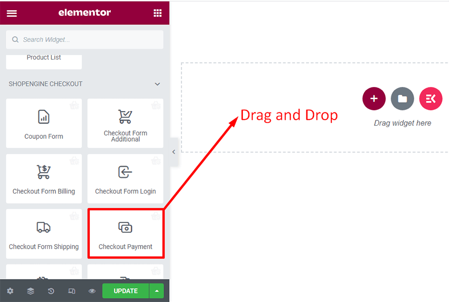 Drag and drop checkout form- payment widget