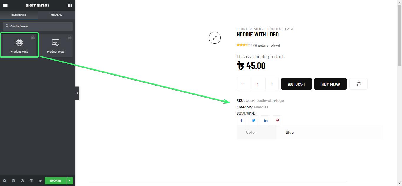 drag and drop product meta widget of ShopEngine