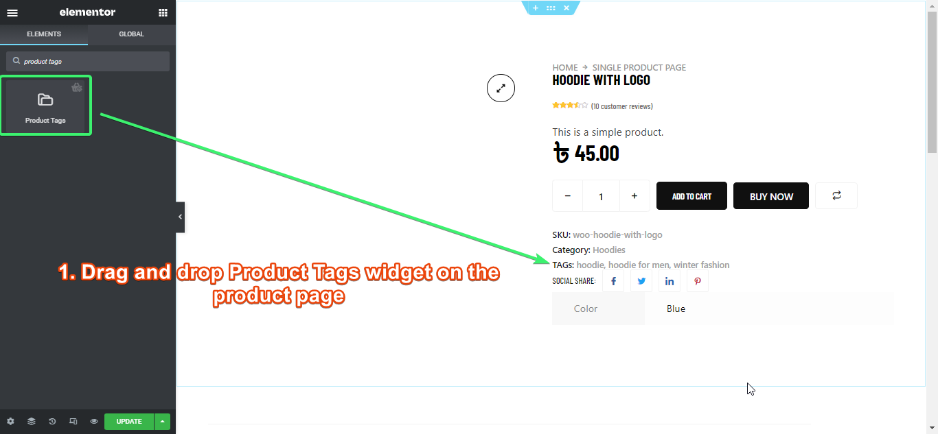 drag and drop product tags widget of ShopEngine on prdouct page