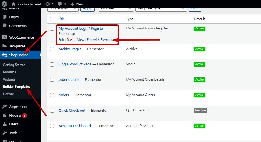Edit Account Login/ Register template