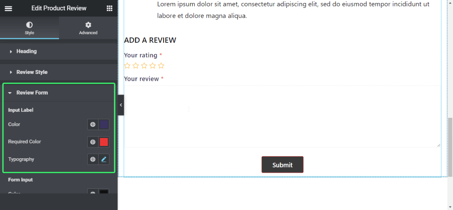 Customize the review form style of Product rating widget of ShopEngine