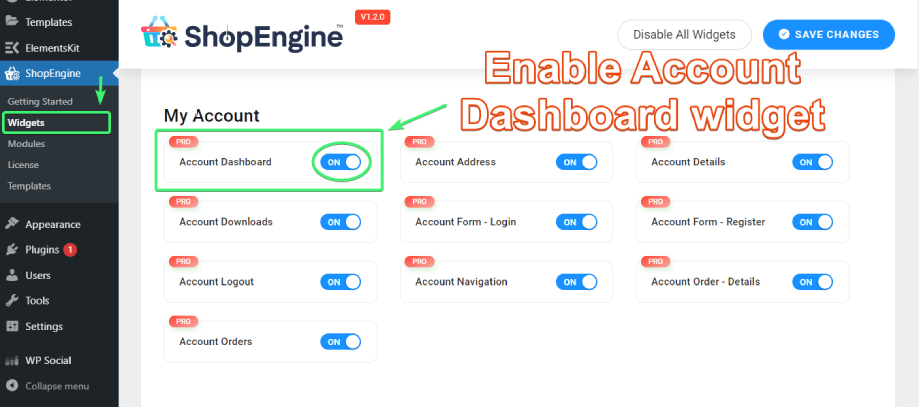 Enable Account Dashboard widget from  the list of My Account widgets