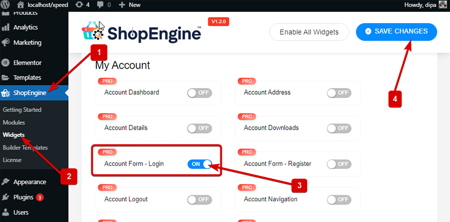 Enable account form  login