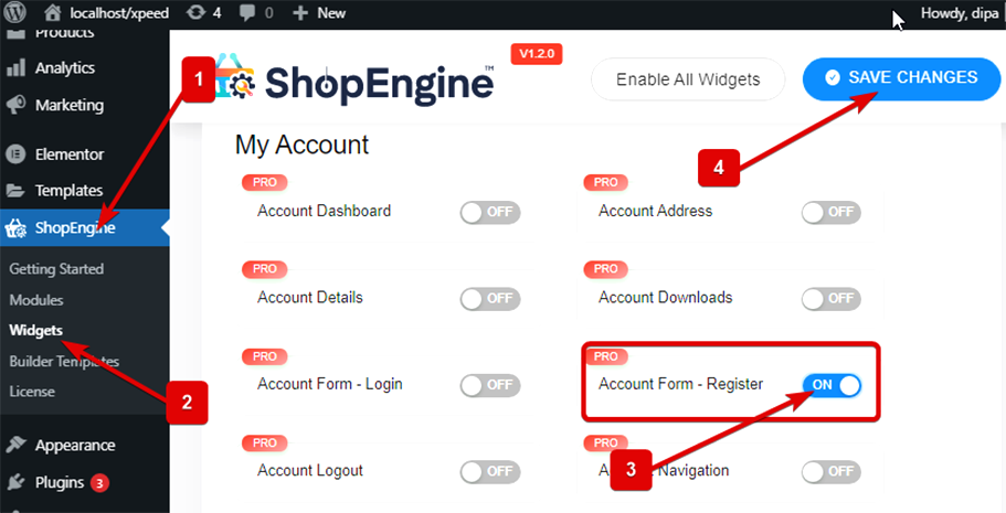 Enable account form register