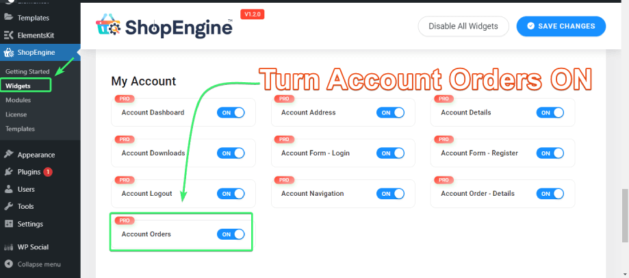 enable the account orders widdget from the list of my account widgets