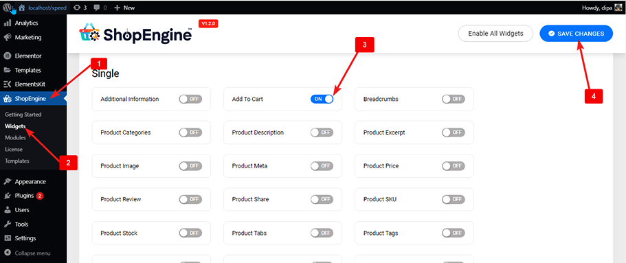 enable add to cart widgets