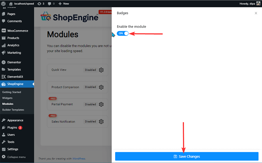Enable Badges Module