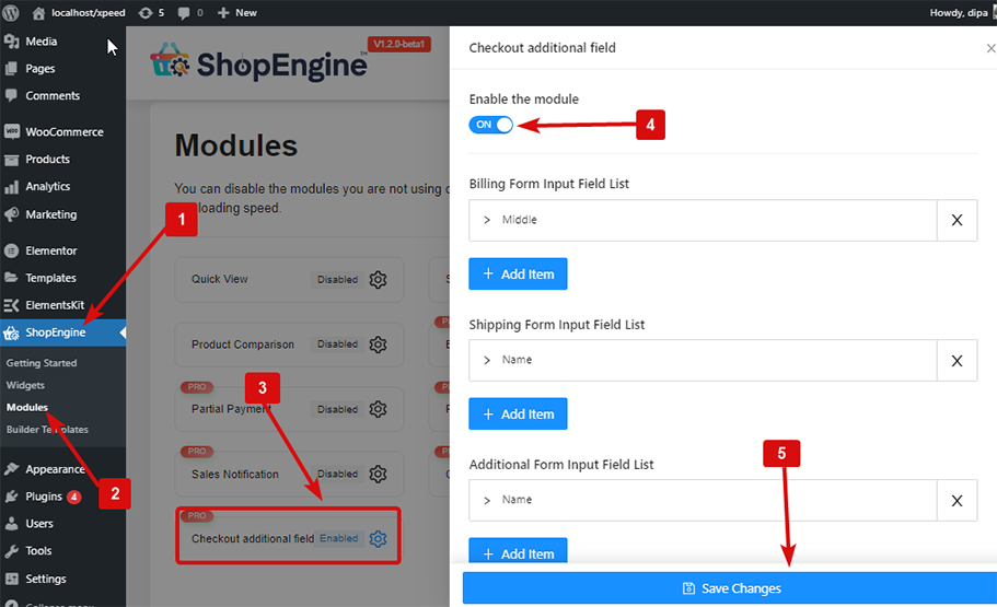Enable checkout Additional Field