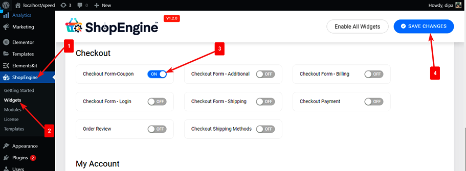 enable checkout form coupon