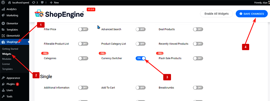 enable currency switcher widget