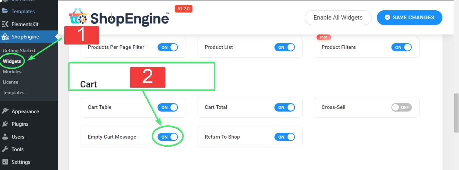 enable the empty cart message widget from the list of cart widgets