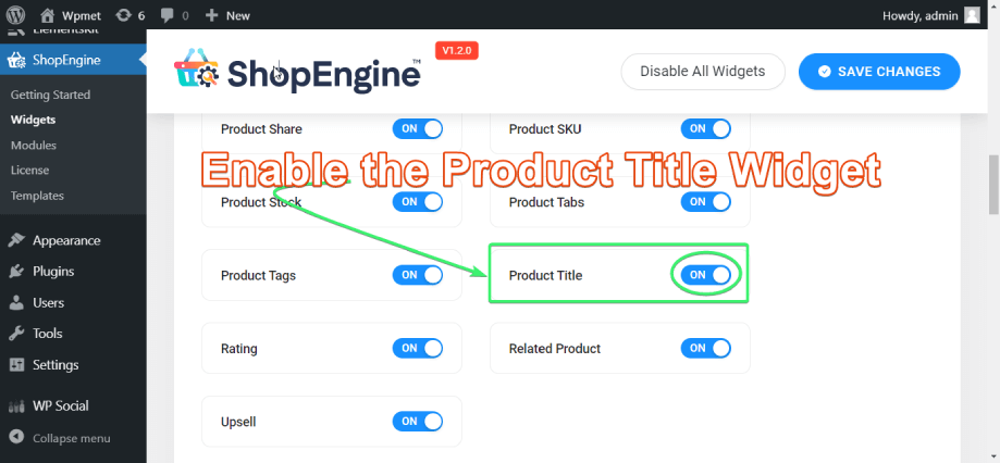 Enable the product title widget of ShopEngine