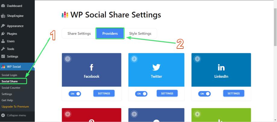 Go the list of social share providers on Wp Social