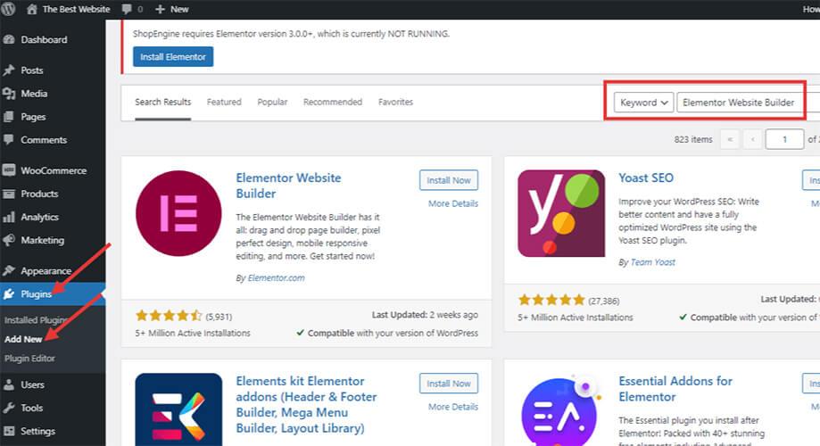 How to add Elementor in WordPress
