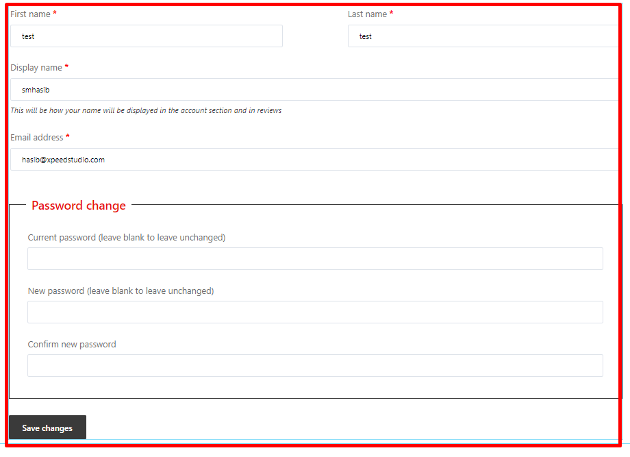 account details widget of shopengine