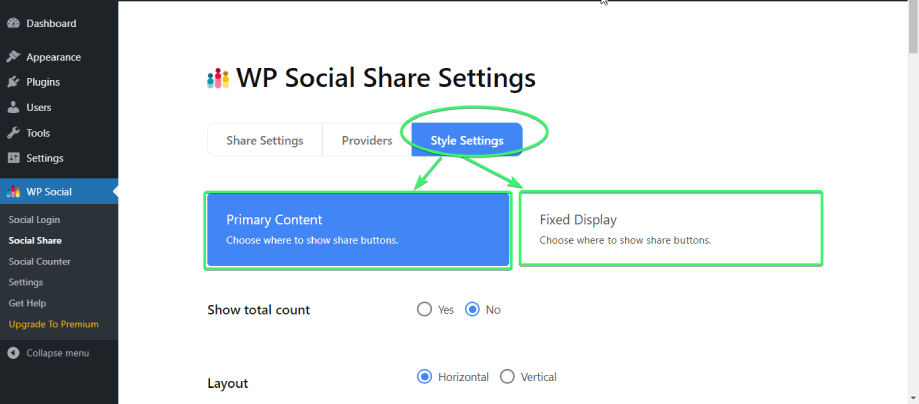make changes to the primary content and fixed display content settings from wp social's social share style settings