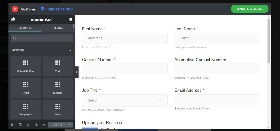 a new window with form settings and update button