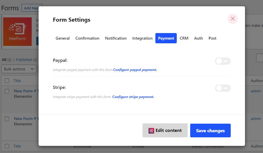 Payment method integration with MetForm