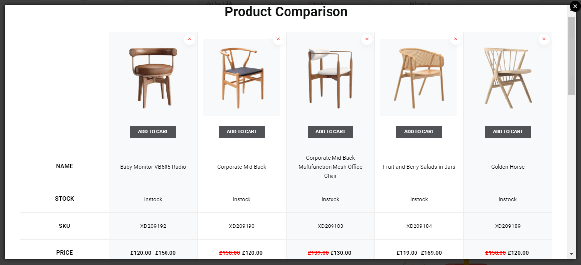 Product comparison module of shopengine is one of the best WooCommerce plugins for comparing products